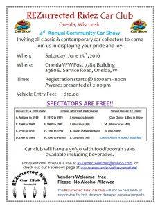 4th Annual Oneida Community Car Show @ Oneida VFW Post 7748 Building | Hobart | Wisconsin | United States