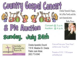 Country Gospel Concert and Pie Auction @ Oneida Apostolic Churst | Hobart | Wisconsin | United States