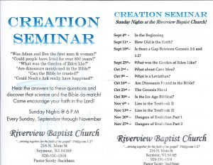 Creation Seminar Series @ Riverview Baptist Church | Seymour | Wisconsin | United States