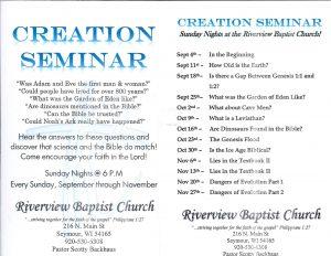 Creation Seminar Series @ Riverview Baptist Church   Seymour   Wisconsin   United States