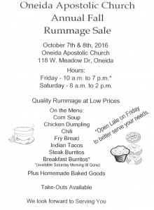 Oneida Apostolic Church's Annual Fall Rummage Sale! Oct 7 & 8 118 W. Meadow Dr. @ Oneida Apostolic Church