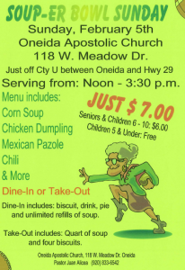 Soup-er Bowl Sunday @ Oneida Apostolic Church | Hobart | Wisconsin | United States