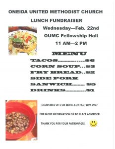 OUMC TACO FUNDRAISER @ ONEIDA UNITED METHODIST CHURCH  | De Pere | Wisconsin | United States