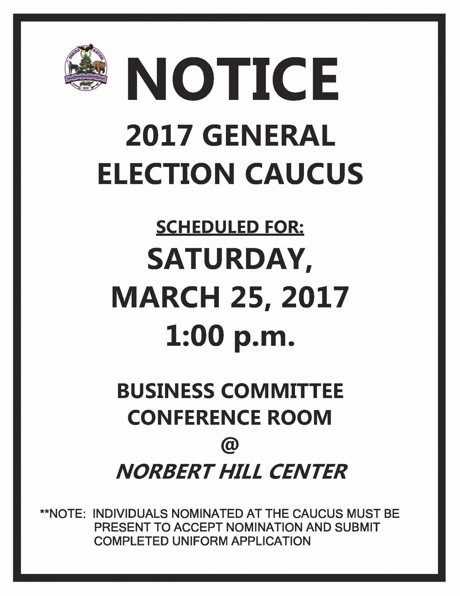 2017 General Election Caucus @ BC Conference Room - 2nd Floor of Norbert Hill Center | Oneida | Wisconsin | United States
