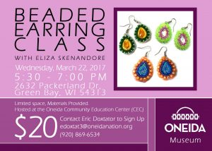 Beaded Earring Class @ Oneida Community Education Center (CEC) | Green Bay | Wisconsin | United States