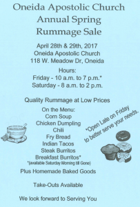 Annual Spring Rummage Sale - Oneida Apostolic Church @ Oneida Apostolic Church