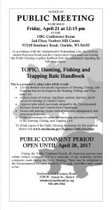 Public Meeting: Hunting, Fishing, & Trapping Law @ NHC OBC Conference Room 2nd Floor  | Oneida | Wisconsin | United States