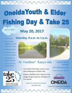Oneida Youth & Elder Fishing Day & Take 25 @ Osnuhsa Kanya.tala |  |  |