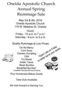2019 Spring Rummage Sale - Oneida Apostolic Church @ Oneida Apostolic Church