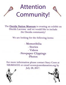 Community Lacrosse Exhibit @ Oneida Nation Museum