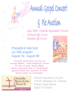 Annual Gospel Concert & Pie Auction @ Oneida Apostolic Church