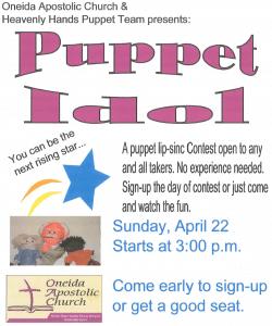 OAC Puppet Idol @ Oneida Apostolic Church - 118 W. Meadow Dr
