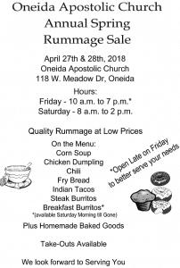 OAC Spring Rummage & Food Sale @ Oneida Apostolic Church - 118 W. Meadow Dr