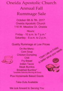 OAC Fall Rummage Sale @ Oneida Apostolic Church - 118 W. Meadow Dr