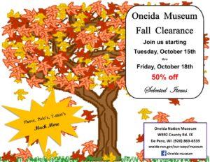 Oneida Museum Gift Shop Fall Clearance Sale @ Oneida Nation Museum