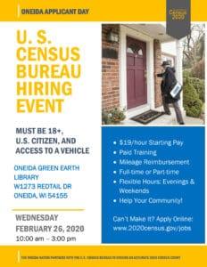 U.S. Census Bureau Hiring Event @ Oneida Green Earth Library