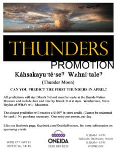 Guess the Thunders Promotion at Oneida Museum Gift Shop @ Oneida Nation Museum