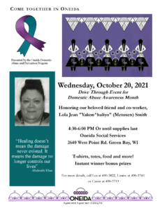 Drive Through:  Domestic Abuse Awareness Month @ Oneida Social Services Building
