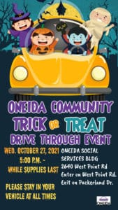 Drive Through: Trick or Treat @ Oneida Social Services Building